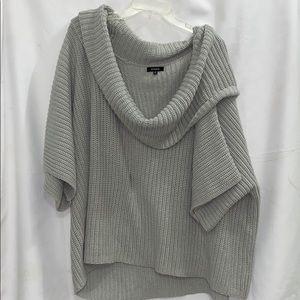 Express   Gray Oversize Poncho Sweater